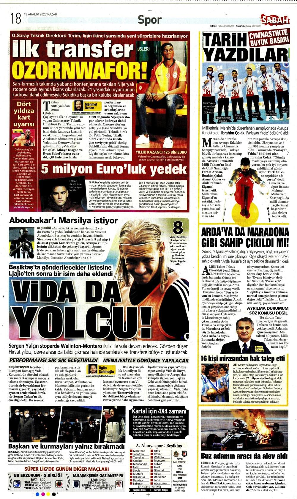 Sporun Manşetleri (13 Aralık 2020)  - 18. Foto